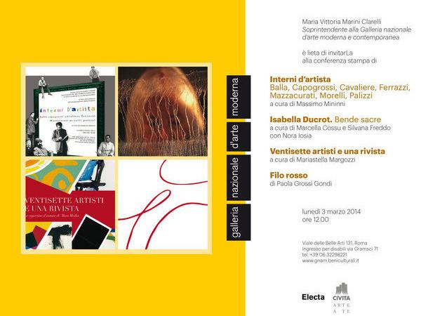 Interni d'autore /Isabella Ducrot. Bende sacre /Ventisette artisti e una rivista / Filo rosso, Gnam - Galleria nazionale d'arte moderna, Roma