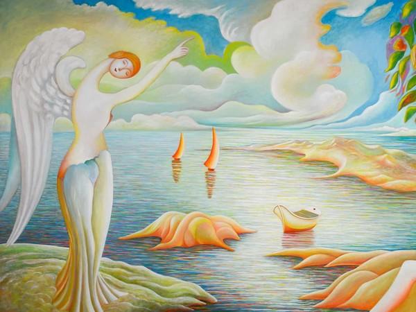 Pasquale Celona, Annunciazione, 2013. Olio su tela, 129 x 250 cm