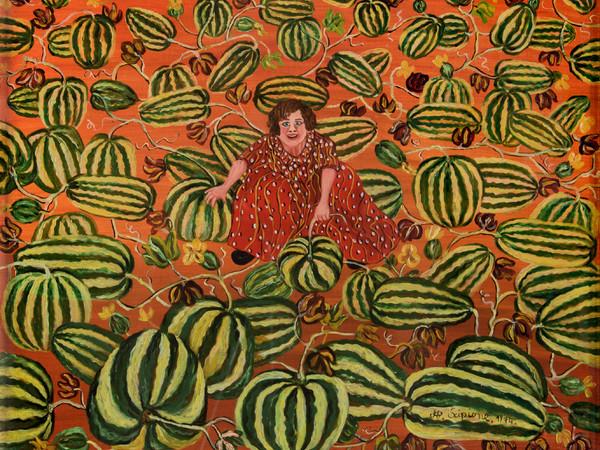 Annunziata Scipione, Donna tra i cocomeri, 1974, olio su tela, cm. 40x50