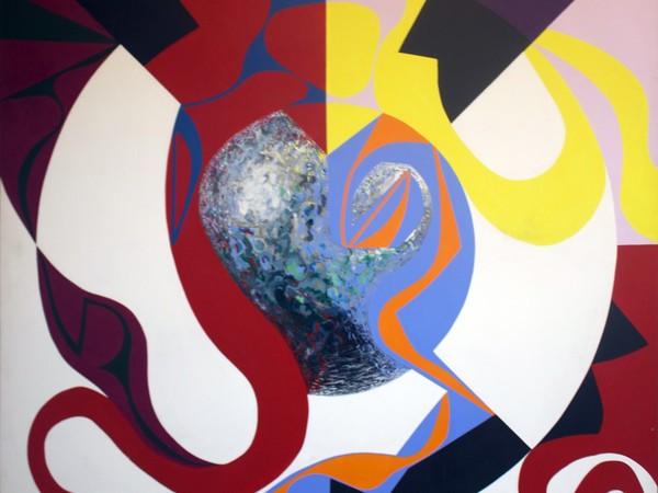 Francesco del Drago, Meteorite 2, 1987, acrilico su tela, 190x190