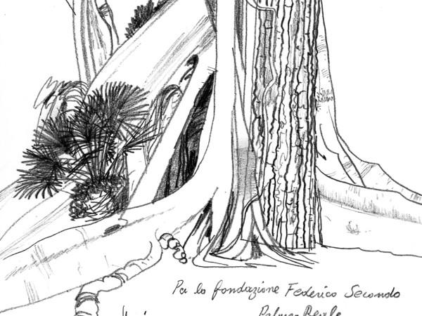 Ficus che abbraccia Pino, schizzo di Fabrice Moireau