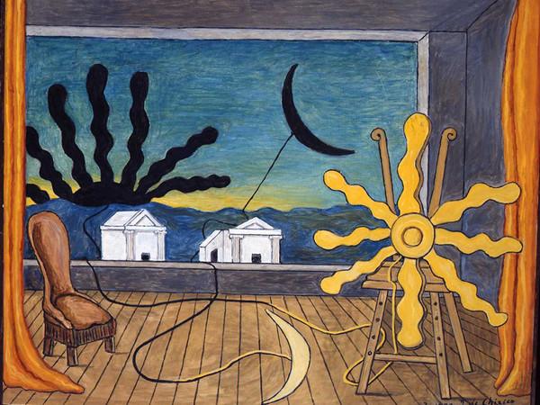 Giorgio de Chirico, Sole sul cavalletto, 1973, olio su tela, cm. 64,5x81