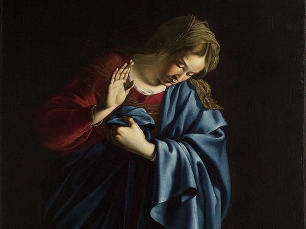 Orazio Lomi Gentileschi, Madonna in adorazione del Bambino, olio su tela, cm. 139,8×98