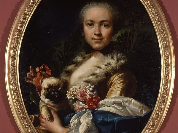 Luigi Crespi, Ritratto di giovane dama con cagnolino, 1755 circa, olio su tela, cm 85x64. Bologna, Museo Davia Bargellini