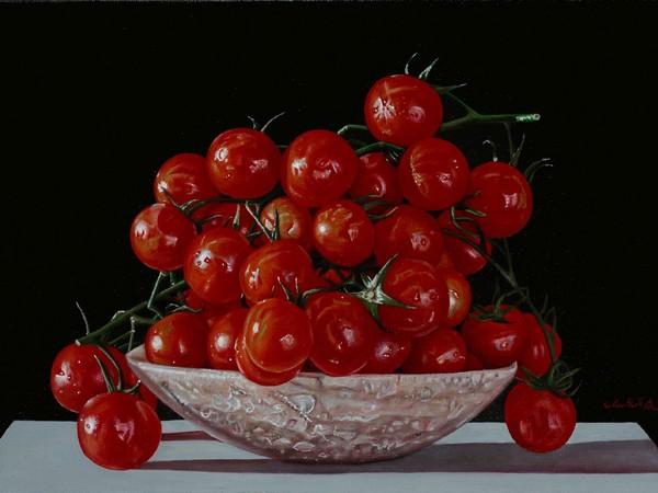Giuseppe Carta, I pomodorini rossi, olio su tela, cm 20x30