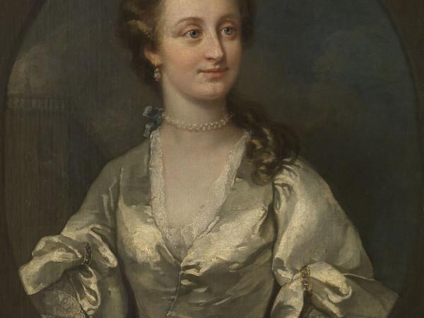 William Hogarth, Ritratto di Signora in abito bianco e orecchini di perle, 1740 circa. Olio su tela, cm. 76,5x63,5. Museo di Belle Arti di Gent (Belgio), inv. 1912-F