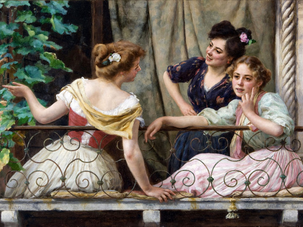 Stefano Novo (Cavarzere, 1862 - Padova, 1927), <em>Conversazione al balcone</em>, Collezione privata