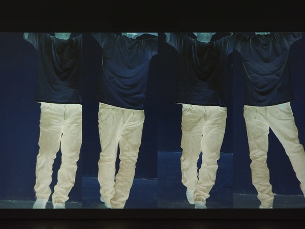 Bruce Nauman, Contrapposto Studies, I through VII, 2015-2016. HD video installation (color, stereo sound, continuous play). Video element (Contrapposto Study II): 7min. 5sec.