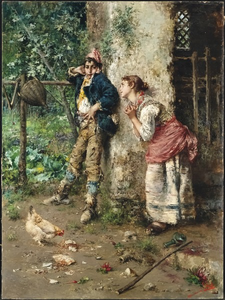 Vincenzo Irolli, Litigio amoroso, olio su tela, 105 x 78 cm