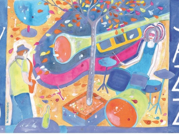Nicola Sannolo, Just two of us (jazz), 2013 (acquerello su cartoncino)