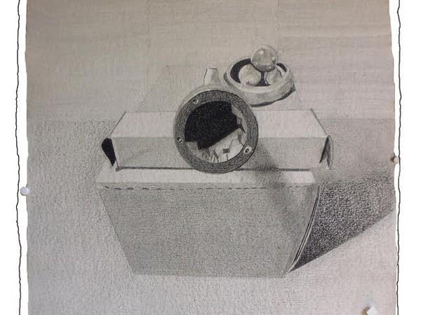 Una vite, due scatole, tre sfere, matite su carta, cm 46x56