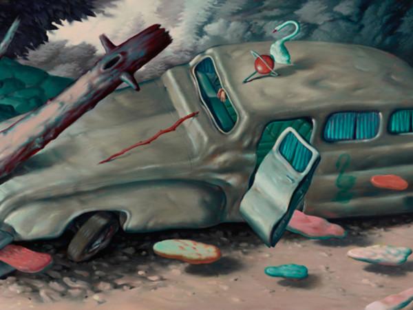 Ryan Heshka, Chromatose, 2018, oil on canvas, 95x200 cm.