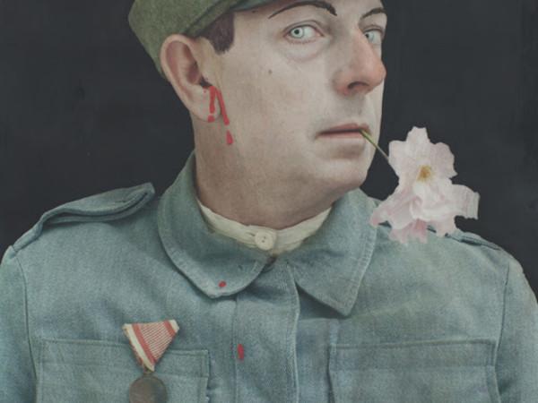 Paolo Ventura, dalla serie&nbsp;<em>Ex Voto</em>, 2017, acrilici e matite colorate su fotografia, cm 100x70 cm e cm 150x100<br />