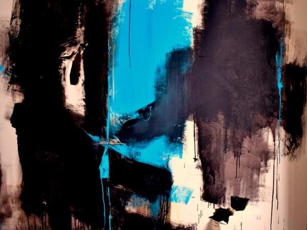 Alina Ditot, Cielo inquinato, tecnica mista su tela strappata e legata, 200x200, 2017