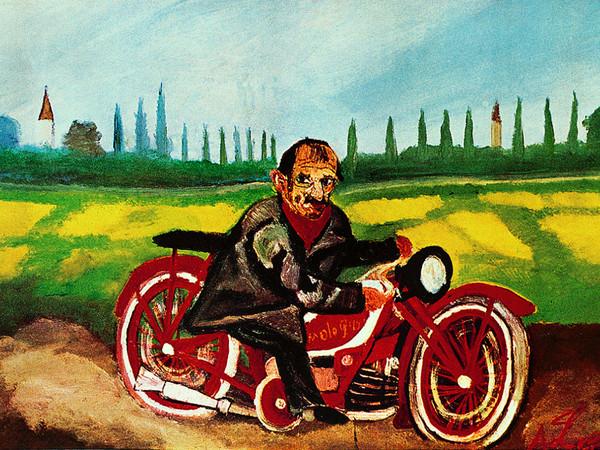Antonio Ligabue, <em>Autoritratto sulla moto</em>, 1953, Olio su faesite, 57 x 39 cm, Parma, Collezione privata