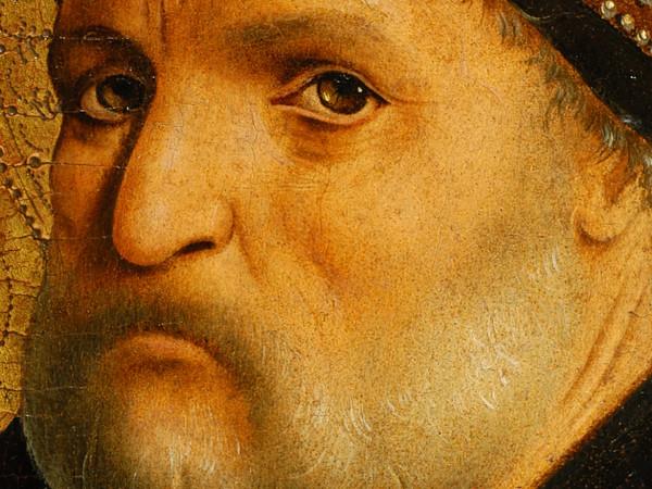 <strong>Antonello da Messina,</strong><em>San Benedetto</em>dal<em>Polittico di San Benedetto,</em>1471-1472.Olio su tavola di pioppo,105 x 43,5 cm.Galleria degli Uffizi (in deposito dalla Regione Lombardia),Firenze. Dettaglio