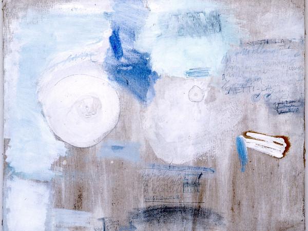 Gastone Novelli, Interpretazione dell'erotomania, 1960, olio e gesso su tela, 80×100 cm