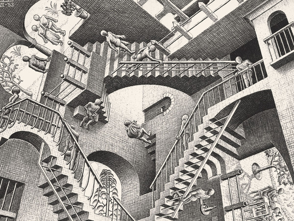 <span>Maurits Cornelis Escher</span>, <em><em>Relativit&agrave;,&nbsp;</em></em>1953, Litografia, 27.7 x 29.2 cm, Collezione privata, Italia All M.C. Escher works | &copy; 2018 The M.C. Escher Company | All rights reserved www.mcescher.com