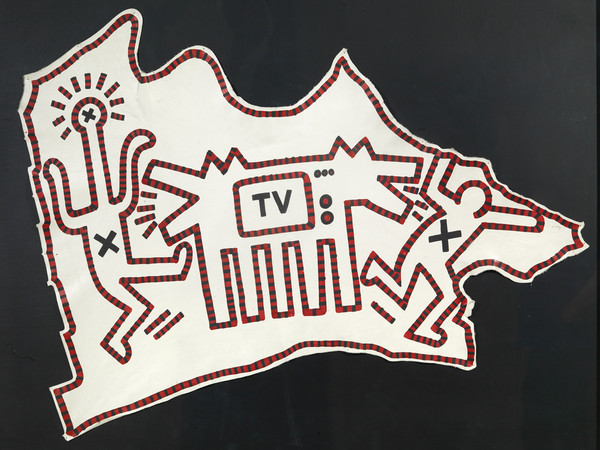 Keith Haring, Untitled, 1983, acrilico su pelle, cm. 112x150
