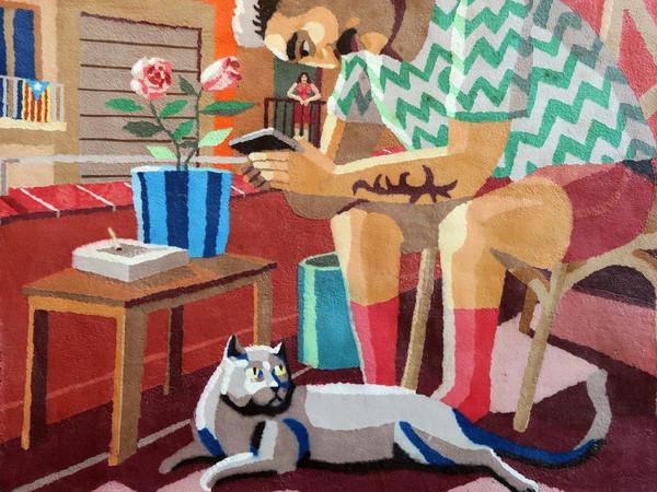 Franco Fasoli, Contacto Visual, 2020, carta fatta a mano su tela, 110x90 cm.