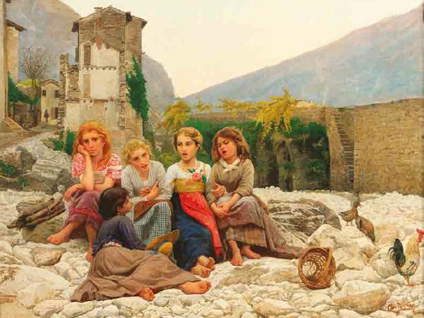 Noè Bordignon, Ragazze che cantano nella valle, 1878, olio su tela. Milano, Galleria Enrico