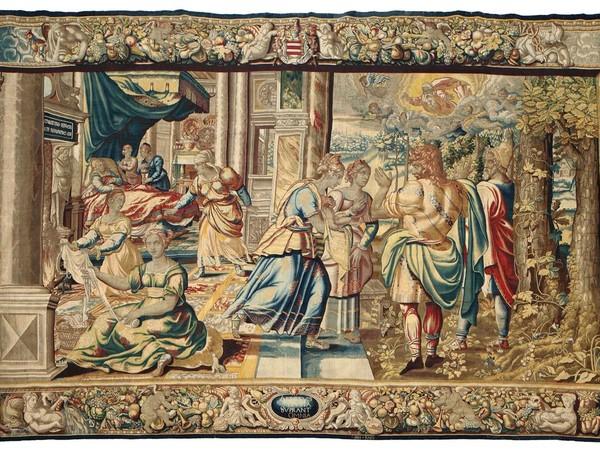 Storie di Sansone. Nascita di Sansone, arazzo, 1600 ca. Manifattura Jan Raes in Bruxelles
