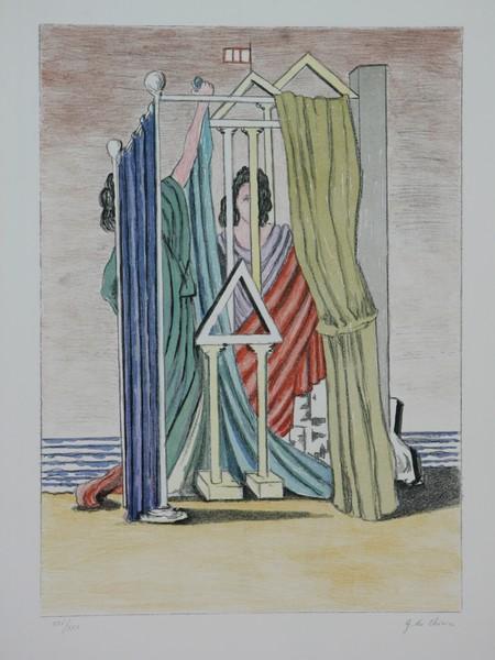 Giorgio de chirico, litografia, cm. 50x70