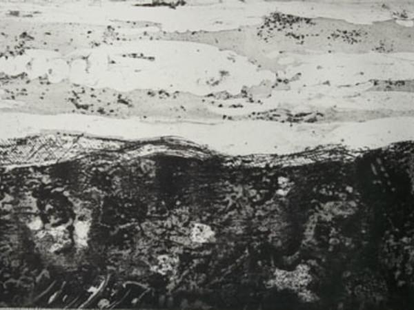Mario Guadagnino, Paesaggio, 2013, acquaforte, acquatinta, puntasecca, 22,5X50 cm.