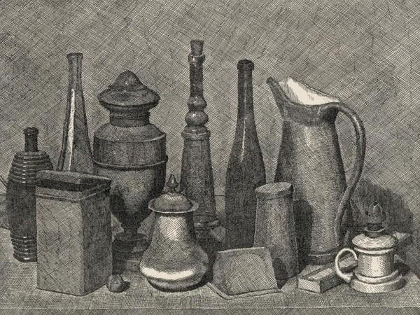 """Giorgio Morandi, <em>Grande natura morta con lampada a destra</em>, 1928, Acquaforte, 459 x 321 mm, Civica Raccolta delle Stampe """"A. Bertarelli"""", Milano"""