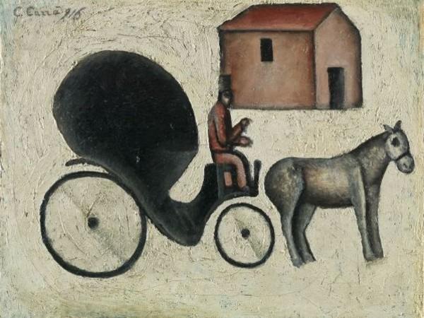 Carlo Carrà, La carrozzella, 1916, olio su tela applicata su compensato, cm. 51,5x66,5. MART 969, VAF 0717 Mart, Museo di arte moderna e contemporanea di Trento e Rovereto, Collezione VAF-Stiftung