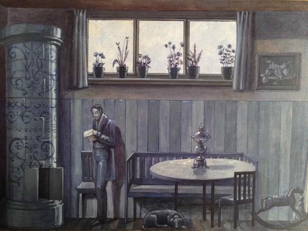 Vanni Cuoghi, Monolocale 29, (la lettera di mezzanotte ), 2015, acrilico e olio su tela, cm. 21x30
