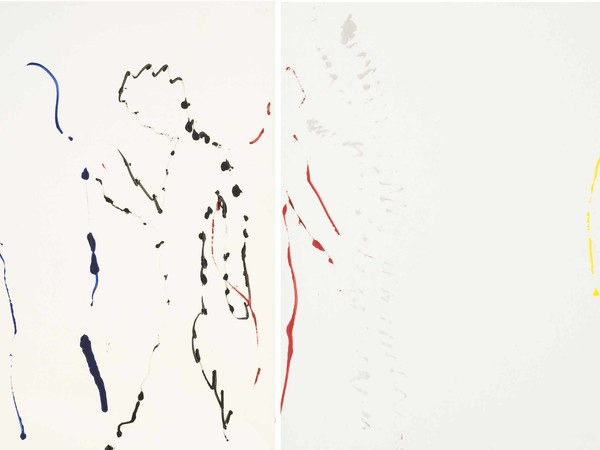 Corrado Levi, Tracce di nudi, 1982, acrilici su tela, cm. 200x380, 200x180, 200x200