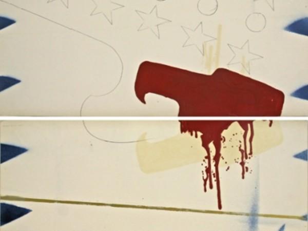 Franco Angeli, Senza titolo, 1965 circa, Smalto e matita su carta