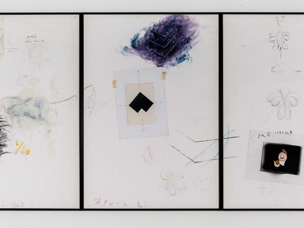 Umberto Bignardi, Crisi della crescita, 1994, trittico tecnica mista su carta, 100x210 cm.