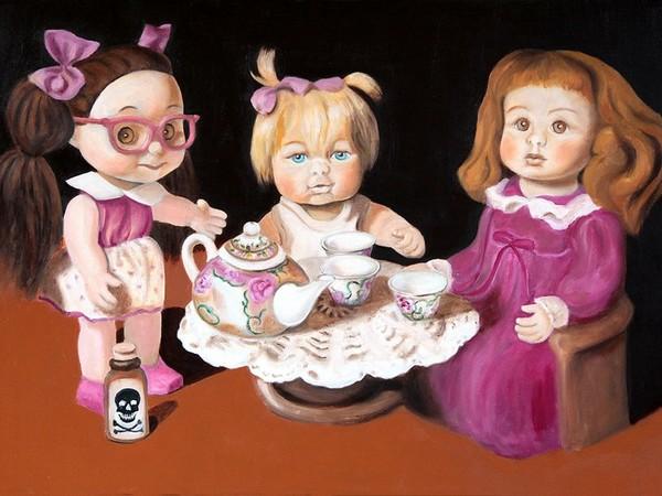 Lilia Bruni, Arsenico e vecchi merletti, 2015, olio su tela, cm. 70x100