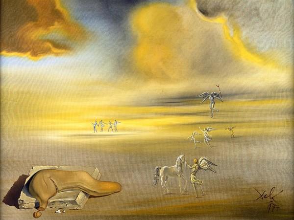 Salvador Dalì, Mostro molle in un paesaggio angelico, 1977, olio su tela, cm 76x101