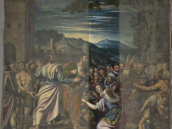 Simone Peterzano, Il miracolo dei S.S. Paolo e Barnaba a Listri (primo campione pulitura)