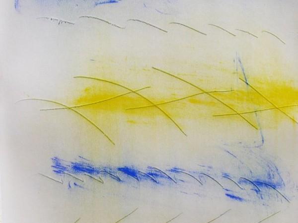 Paolo Gubinelli, Graffi, colori in polvere su carta, 2019, cm. 50x70