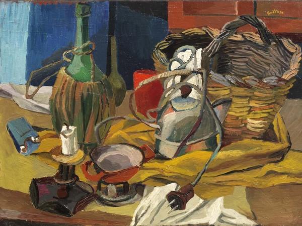 Renato Guttuso, Fiasco, candela e bollitore, 1940-41, olio su tela, cm. 54x73