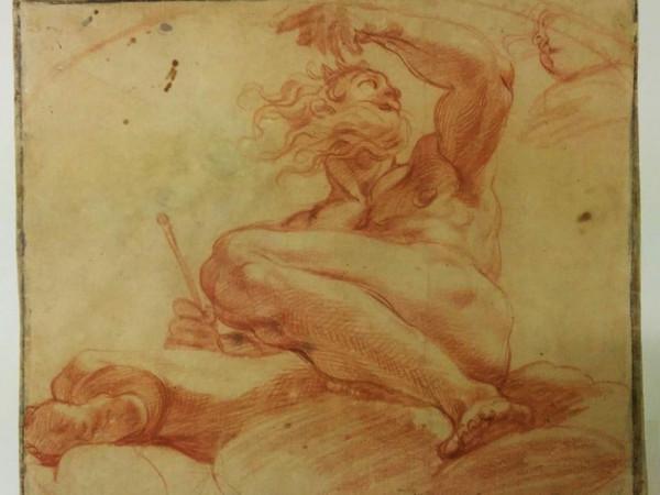 Agostino Carracci, Eolo custode dei venti carta, matita rossa, 264x327 mm., Modena, Galleria Estense