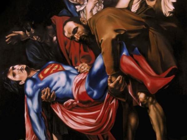 Mirco Campioni, La morte del superuomo, 2013, olio su tela, cm. 100x70