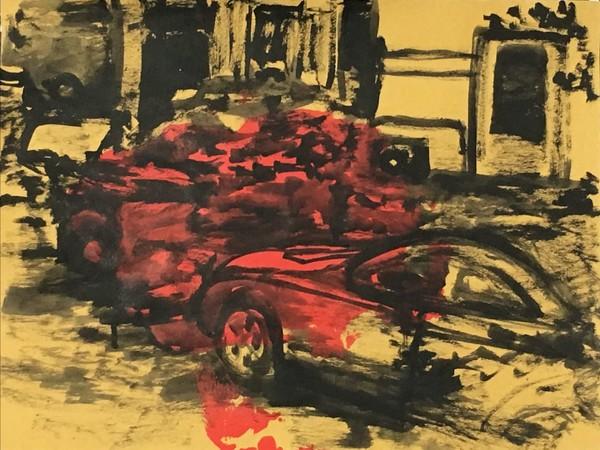 Michael Rotondi, Mota #1, 2018, acrilico e smalto su carta paglia intelata, 29,7x42 cm.