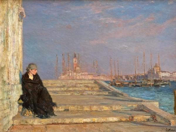 Beppe Ciardi, L'ultimo gradino, Olio su tela, 125 x 95 cm, Venezia, Collezione privata, Particolare