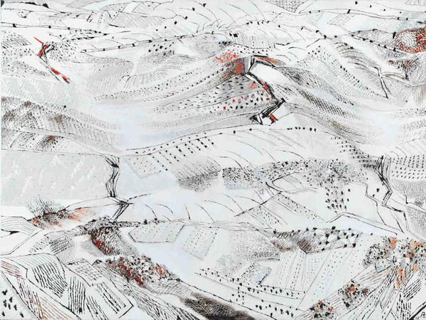 Tullio Pericoli, Perdita d'occhio, 2011. Olio su intonaco intelato, 90x180 cm.