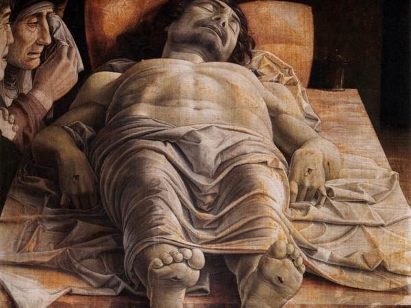 Andrea Mantegna, Cristo morto,1475-1478 ca., tempera su tela. Pinacoteca di Brara, Milano<br />