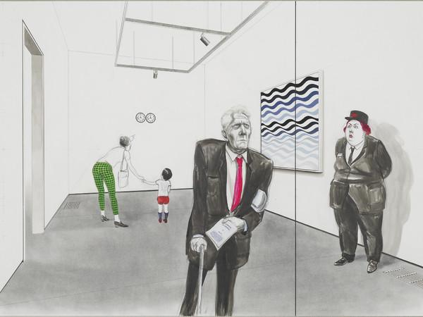 Charles Avery, Untitled (It Means It Means; Gonzalez-Torres, Ray, Riley, Watteau), 2013 (detail) Bleistift, Tinte, Acryl und Gouache auf Papier, auf Leinen aufgezogen, Diptychon: je 60 x 84 cm.