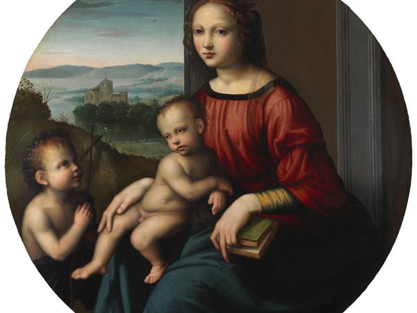 Maestro della Lamentazione di Scandicci, Madonna col Bambino e San Giovanni Battista. Olio su tavola, Ø 83.9 cm