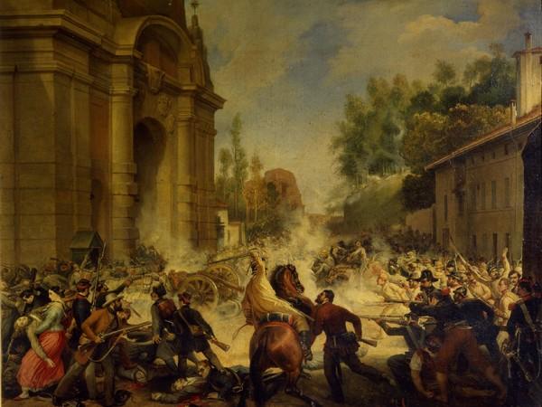 Antonio Muzzi, La cacciata degli Austriaci da Porta Galliera l'8 agosto 1848, sec. XIX (1849). Olio su tela, cm. 82x65. Bologna, Museo civico del Risorgimento