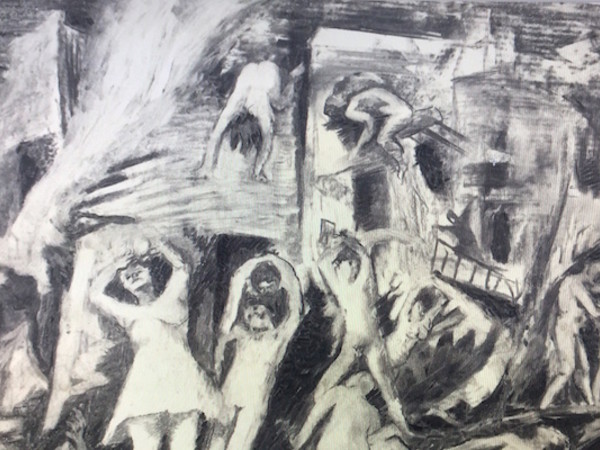 Giuseppe Capogrossi, Bombardamento, 1943, matita e carboncino su carta, 38x52 cm.