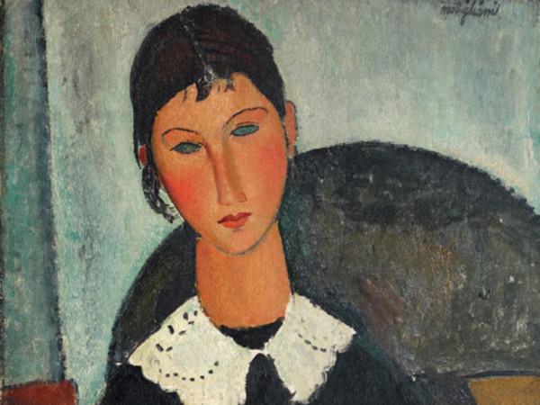 Amedeo Modigliani, Elvire au col balnc (Elvire à la collerette), 1917 o 1918, Olio su tela. Firmato in alto a destra, cm 92 x 65. © Pinacothèque de Paris /Fabrice Gousset